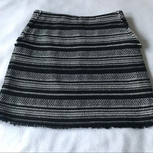 Ann Taylor Loft Woven Pattered Fringe Mini Skirt